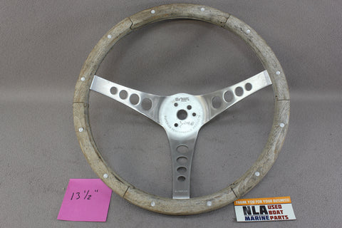"Boat Steering Wheel The ""500"" Wood Grip Teak Rivet Stainless 3-Spoke Marine Helm"