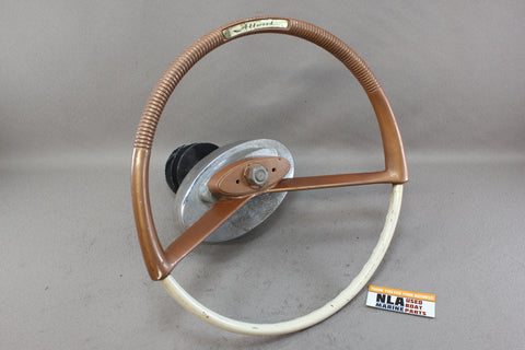 Vintage Boat Pulley Drum Steering Wheel Helm Attwood Cable Outboard Gold Orange