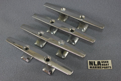 "Boat Marine Cleat Cleats  6 1/4"" Dock Tie-Off Set of 4 Chrome Open Base 2-hole"