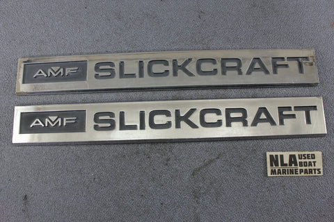 AMF SLICKCRAFT Emblem Nameplate Logo Decal Boat Marine Hardware Vintage Chrome