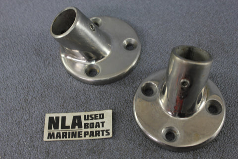 "Boat Marine Bow Rail Fitting Round Base Hardware Stanchion 45ºdeg 7/8"" Railing"