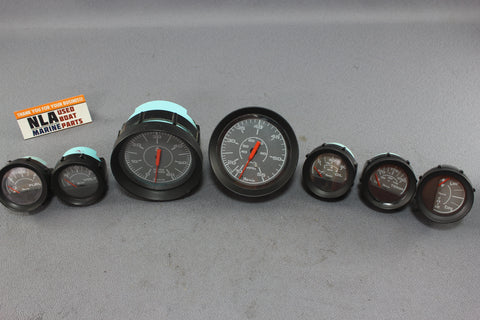Boat Gauges Set Faria Gray Face Speedometer RPM Tachometer Fuel Gauge Water Temp