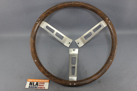 MerCruiser OMC Steering wheel Chrome Wood Grain Handle Boat Marine Helm Cap