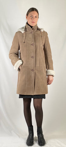 Shearling Hooded Buttons Coat