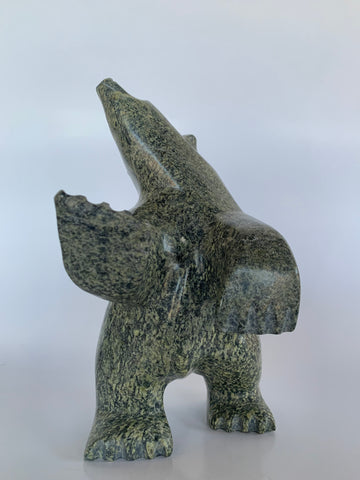 Soapstone, sculpture, carving, inuit, serpentine, green, inukshuk, seal, phoque, loon, bird, handcrafted, made in canada,canadian, Canadian made, Canadian heritage,montreal, old port, local, high quality, international shipping, shipping, usa, europe, heritage gallery, heritage galerie, www.heritagegallery.ca, cape doest, iqualuit, native, polar bear, igloo, eskimo, north, art stone, marble, rock, artist, drummer, dancing, man, caribou bone, Hunter, black, dark, Joanie Raggie, inukshuk