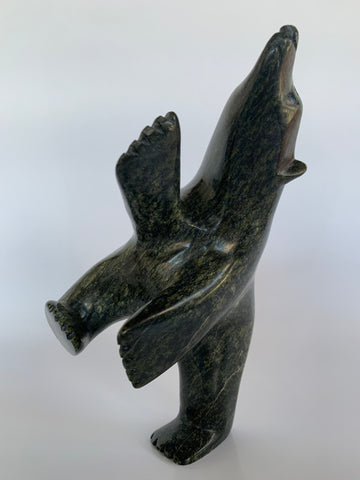 Soapstone, sculpture, carving, inuit, serpentine, green, inukshuk, seal, phoque, loon, bird, handcrafted, made in canada,canadian, Canadian made, Canadian heritage,montreal, old port, local, high quality, international shipping, shipping, usa, europe, heritage gallery, heritage galerie, www.heritagegallery.ca, cape doest, iqualuit, native, polar bear, igloo, eskimo, north, art stone, marble, rock, artist, drummer, dancing, man, caribou bone, Hunter, black, dark, Siutiapiq Raggee, inukshuk