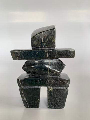 Soapstone, sculpture, carving, inuit, serpentine, green, inukshuk, seal, phoque, loon, bird, handcrafted, made in canada,canadian, Canadian made, Canadian heritage,montreal, old port, local, high quality, international shipping, shipping, usa, europe, heritage gallery, heritage galerie, www.heritagegallery.ca, cape doest, iqualuit, native, polar bear, igloo, eskimo, north, art stone, marble, rock, artist, drummer, dancing, man, caribou bone, Hunter, black, dark, Gii Etungat
