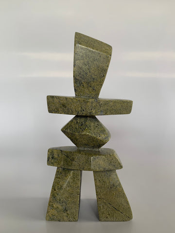 Soapstone, sculpture, carving, inuit, serpentine, green, inukshuk, seal, phoque, loon, bird, handcrafted, made in canada,canadian, Canadian made, Canadian heritage,montreal, old port, local, high quality, international shipping, shipping, usa, europe, heritage gallery, heritage galerie, www.heritagegallery.ca, cape doest, iqualuit, native, polar bear, igloo, eskimo, north, art stone, marble, rock, artist, drummer, dancing, man, caribou bone, Hunter, black, dark, Allan Oshutsiaq
