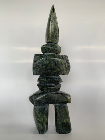 Soapstone, sculpture, carving, inuit, serpentine, green, inukshuk, seal, phoque, loon, bird, handcrafted, made in canada,canadian, Canadian made, Canadian heritage,montreal, old port, local, high quality, international shipping, shipping, usa, europe, heritage gallery, heritage galerie, www.heritagegallery.ca, cape doest, iqualuit, native, polar bear, igloo, eskimo, north, art stone, marble, rock, artist, drummer, dancing, man, caribou bone, Hunter, black, dark, Qavavau Shaa, carving