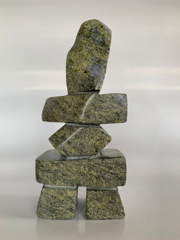 Soapstone, sculpture, carving, inuit, serpentine, green, inukshuk, seal, phoque, loon, bird, handcrafted, made in canada,canadian, Canadian made, Canadian heritage,montreal, old port, local, high quality, international shipping, shipping, usa, europe, heritage gallery, heritage galerie, www.heritagegallery.ca, cape doest, iqualuit, native, polar bear, igloo, eskimo, north, art stone, marble, rock, artist, drummer, dancing, man, caribou bone, Hunter, black, dark, Saila Pudlat, carving