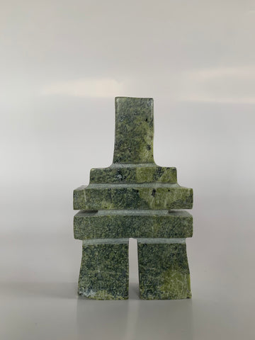 Soapstone, sculpture, carving, inuit, serpentine, green, inukshuk, seal, phoque, loon, bird, handcrafted, made in canada,canadian, Canadian made, Canadian heritage,montreal, old port, local, high quality, international shipping, shipping, usa, europe, heritage gallery, heritage galerie, www.heritagegallery.ca, cape doest, iqualuit, native, polar bear, igloo, eskimo, north, art stone, marble, rock, artist, drummer, dancing, man, caribou bone, Hunter, black, dark, Anartok Ipeelee, inukshuk, carving