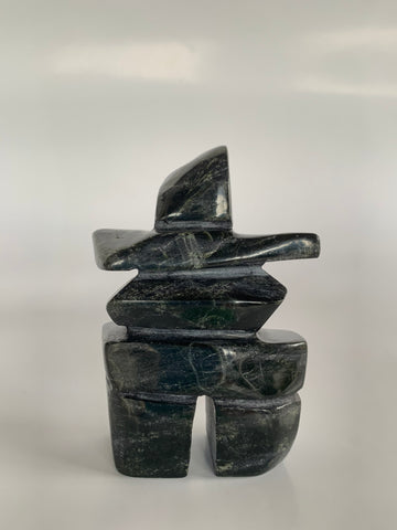 Soapstone, sculpture, carving, inuit, serpentine, green, inukshuk, seal, phoque, loon, bird, handcrafted, made in canada,canadian, Canadian made, Canadian heritage,montreal, old port, local, high quality, international shipping, shipping, usa, europe, heritage gallery, heritage galerie, www.heritagegallery.ca, cape doest, iqualuit, native, polar bear, igloo, eskimo, north, art stone, marble, rock, artist, drummer, dancing, man, caribou bone, Hunter, black, dark, Gii Etungat, inukshuk