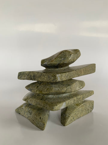 Soapstone, sculpture, carving, inuit, serpentine, green, inukshuk, seal, phoque, loon, bird, handcrafted, made in canada,canadian, Canadian made, Canadian heritage,montreal, old port, local, high quality, international shipping, shipping, usa, europe, heritage gallery, heritage galerie, www.heritagegallery.ca, cape doest, iqualuit, native, polar bear, igloo, eskimo, north, art stone, marble, rock, artist, drummer, dancing, man, caribou bone, Hunter, black, dark, Isa Oqutaq, inukshuk, carving