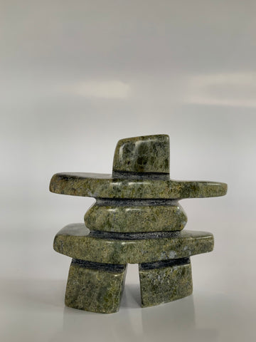 Soapstone, sculpture, carving, inuit, serpentine, green, inukshuk, seal, phoque, loon, bird, handcrafted, made in canada,canadian, Canadian made, Canadian heritage,montreal, old port, local, high quality, international shipping, shipping, usa, europe, heritage gallery, heritage galerie, www.heritagegallery.ca, cape doest, iqualuit, native, polar bear, igloo, eskimo, north, art stone, marble, rock, artist, drummer, dancing, man, caribou bone, Hunter, black, dark, Ning Etidloie, inukshuk, carving