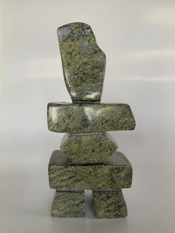 Soapstone, sculpture, carving, inuit, serpentine, green, inukshuk, seal, phoque, loon, bird, handcrafted, made in canada,canadian, Canadian made, Canadian heritage,montreal, old port, local, high quality, international shipping, shipping, usa, europe, heritage gallery, heritage galerie, www.heritagegallery.ca, cape doest, iqualuit, native, polar bear, igloo, eskimo, north, art stone, marble, rock, artist, drummer, dancing, man, caribou bone, Hunter, black, dark, Saila Pudlat, inukshuk, carving