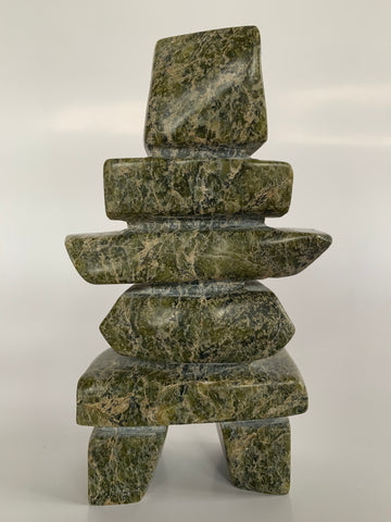 Soapstone, sculpture, carving, inuit, serpentine, green, inukshuk, seal, phoque, loon, bird, handcrafted, made in canada,canadian, Canadian made, Canadian heritage,montreal, old port, local, high quality, international shipping, shipping, usa, europe, heritage gallery, heritage galerie, www.heritagegallery.ca, cape doest, iqualuit, native, polar bear, igloo, eskimo, north, art stone, marble, rock, artist, drummer, dancing, man, caribou bone, Hunter, black, dark, Taukie Papnagok, inukshuk