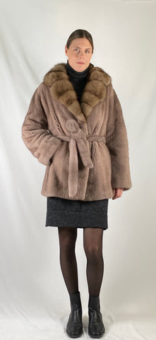 Mink Belted Sable Collar Coat