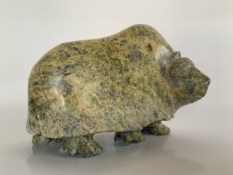 Soapstone, sculpture, carving, inuit, serpentine, green, inukshuk, seal, phoque, loon, bird, handcrafted, made in canada,canadian, Canadian made, Canadian heritage,montreal, old port, local, high quality, international shipping, shipping, usa, europe, heritage gallery, heritage galerie, www.heritagegallery.ca, cape doest, iqualuit, native, polar bear, igloo, eskimo, north, art stone, marble, rock, artist, drummer, dancing, man, caribou bone, Hunter, black, dark, muskox, Pudlalik Shaa