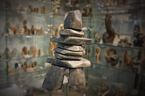 Soapstone, sculpture, carving, inuit, serpentine, green, inukshuk, seal, phoque, loon, bird, handcrafted, made in canada,canadian, Canadian made, Canadian heritage,montreal, old port, local, high quality, international shipping, shipping, usa, europe, heritage gallery, heritage galerie, www.heritagegallery.ca, cape doest, iqualuit, native, polar bear, igloo, eskimo, north, art stone, marble, rock, artist, drummer, dancing, man, caribou bone, Hunter, black, dark, walrus