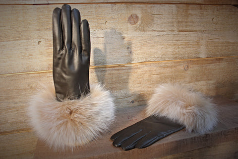 Fox Fur Trim Gloves