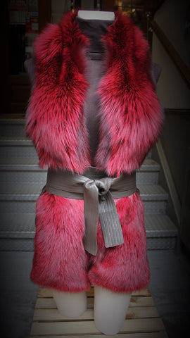 Red Dyed Silver Fox Fur Boa