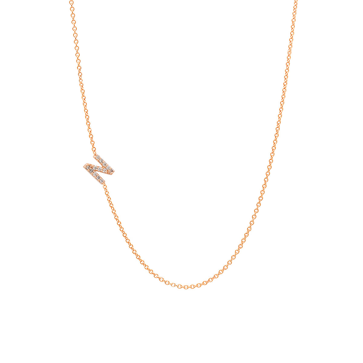 Asymmetrical Diamond Initial Necklace