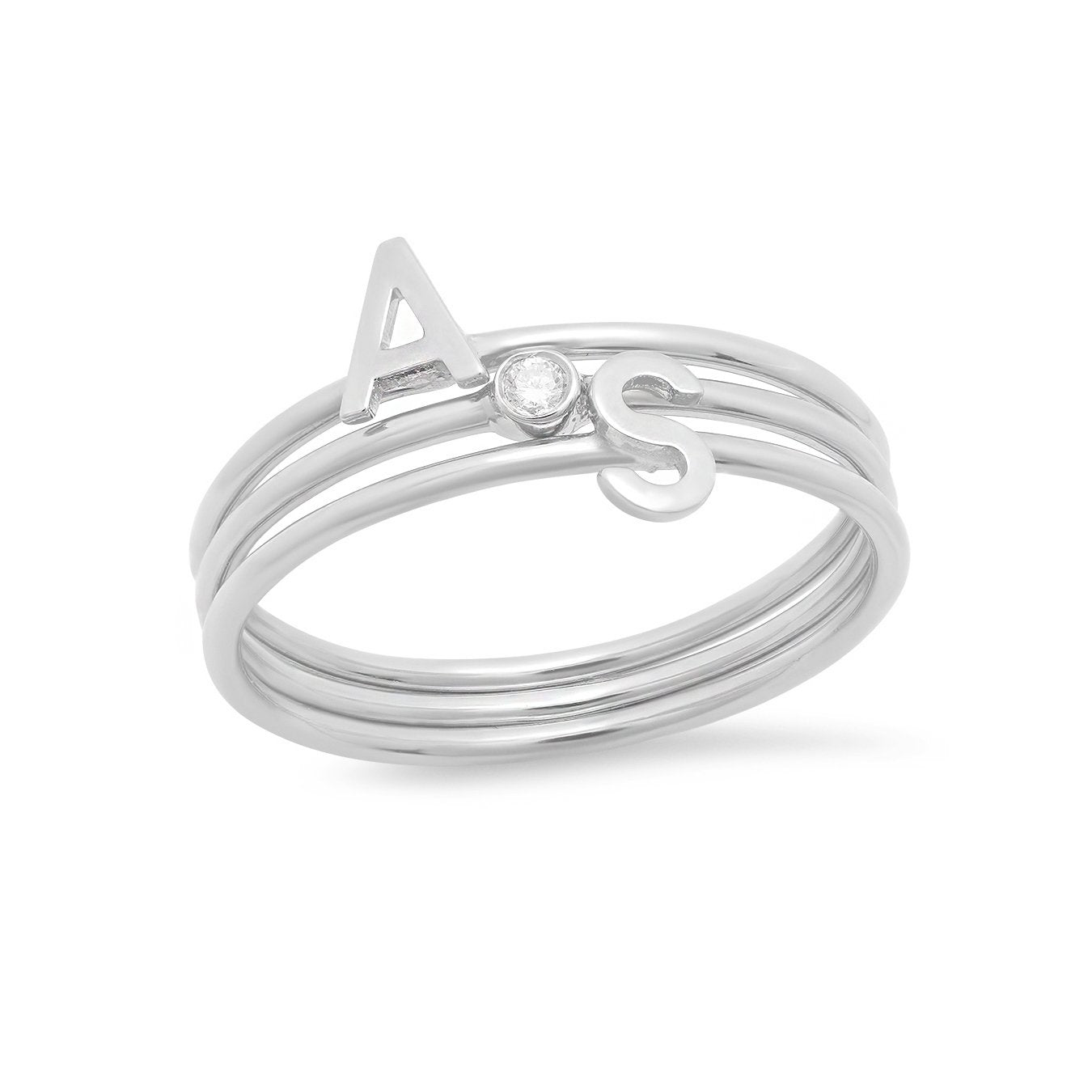 2 Initial and Lili Ring Set