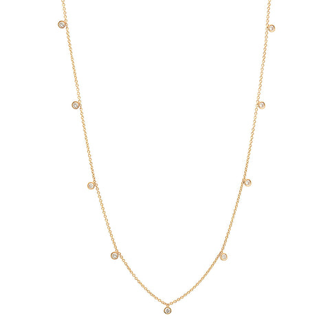 Initial & Diamond Necklace - 14k Yellow