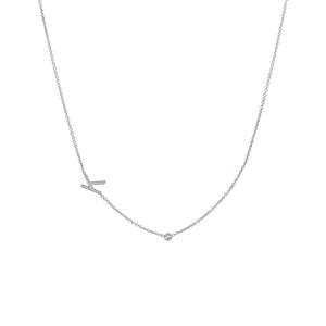 Asymmetrical Initial & Diamond Necklace