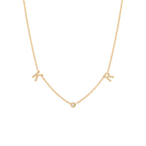 2 Diamond Initials and Diamond Necklace
