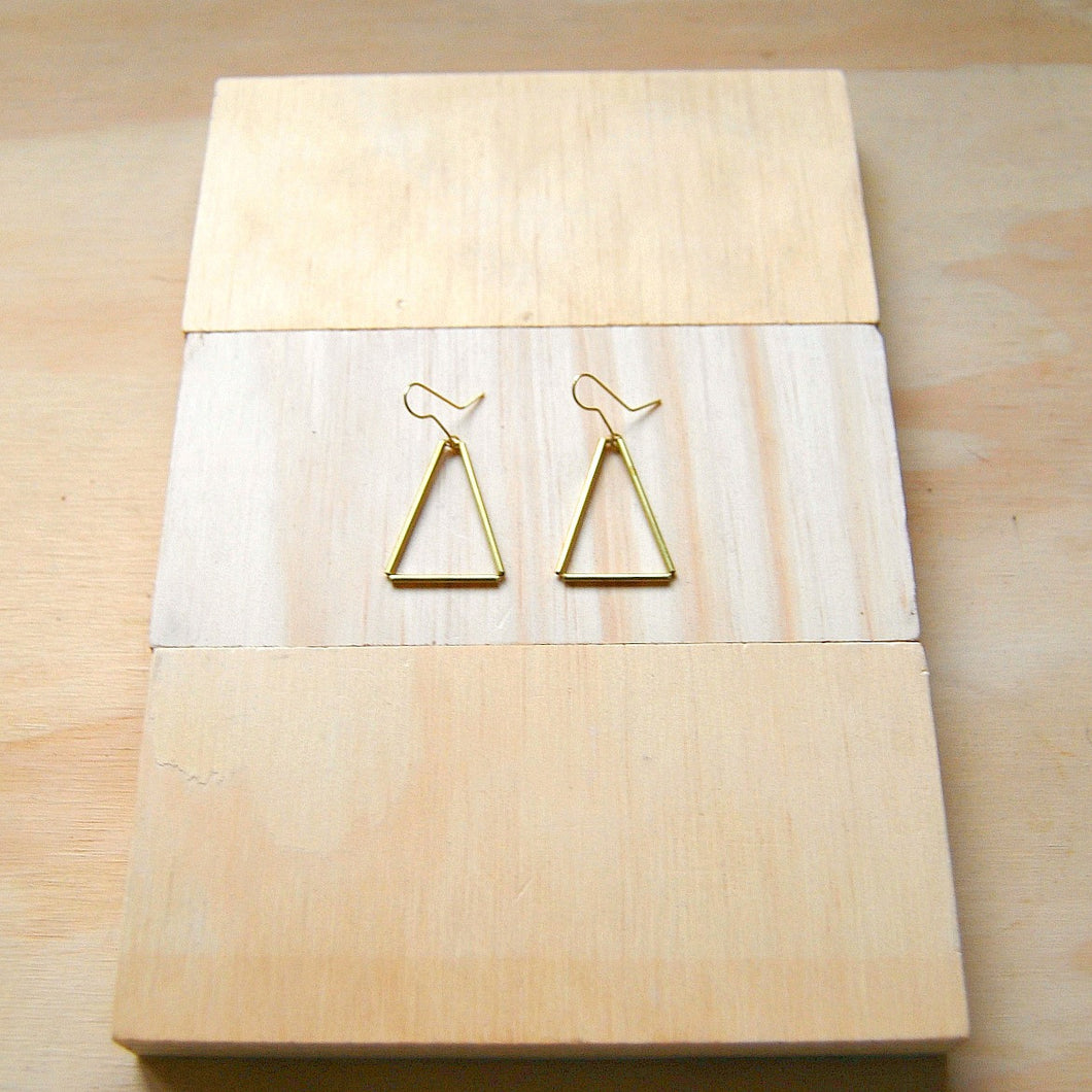Tria Medium Brass Earrings