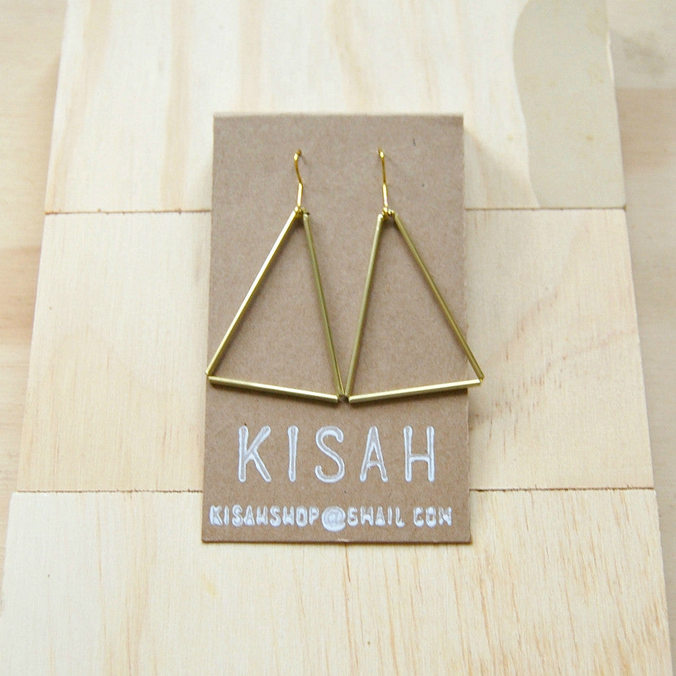 Tria Large Brass Earrings