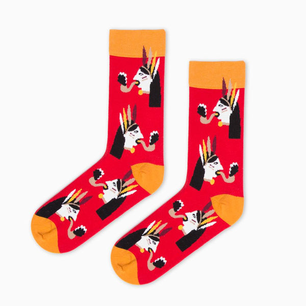 Socks - Red Nord Snake Indian By Cachetejack