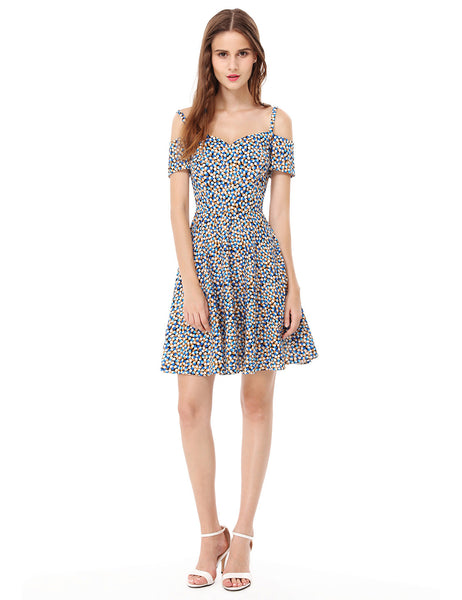 Beautiful Patterned Women's Off-The-Shoulder Sun Dress