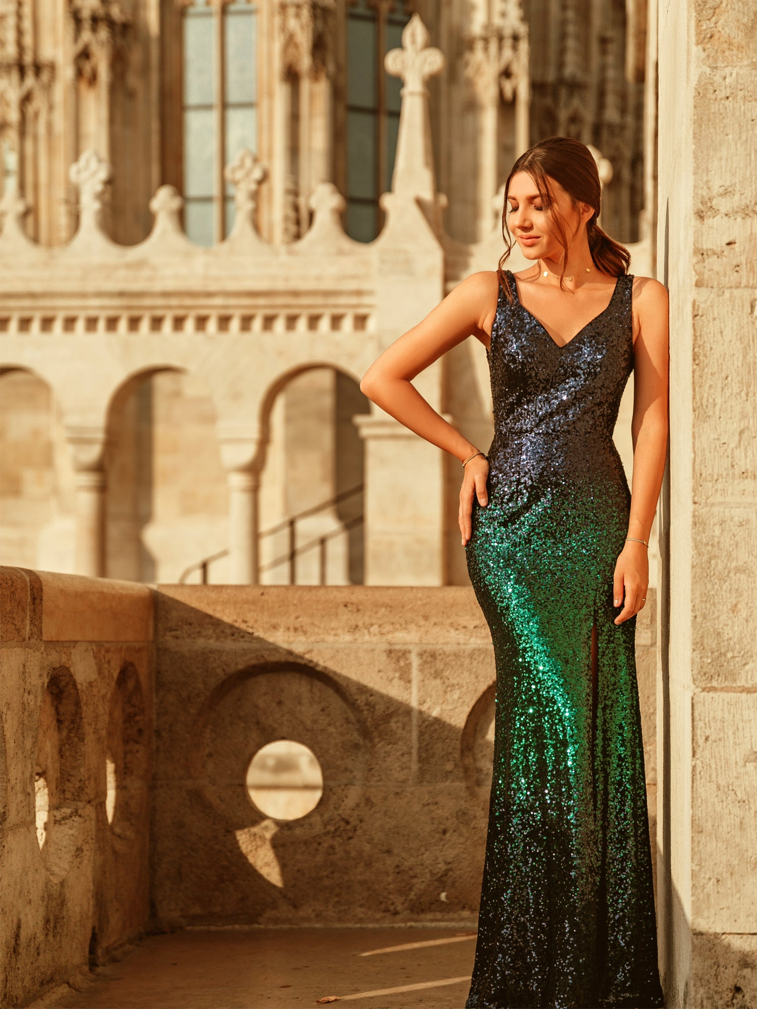 Fashionable sequin lined stunning v-neck evening dress