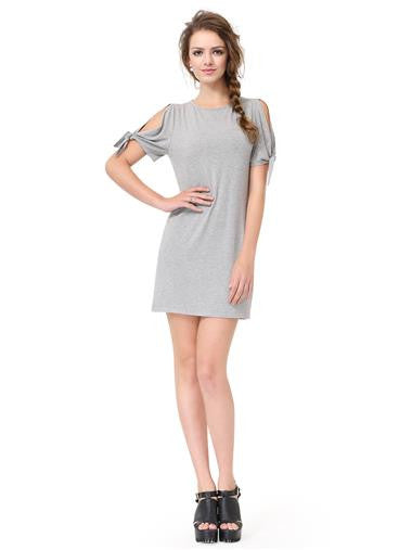 Grey Fashionable Round Neck Dress/Blouse with Open-Cut Sleeves