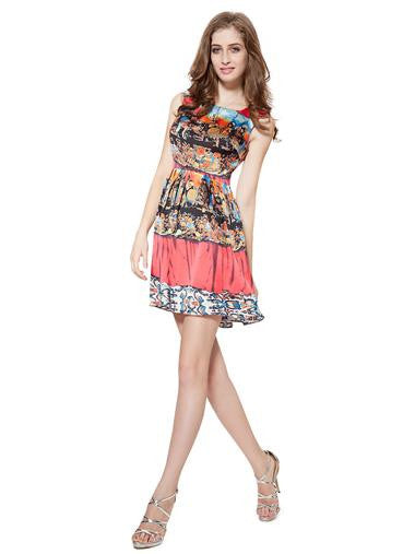 Floral Printed Cocktail Red Casual Dress