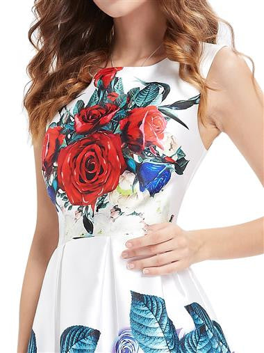 Printed Floral Round Neck Short Summer Dress