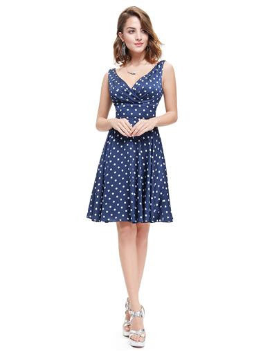 Fun short blue polka-dot casual tea dress