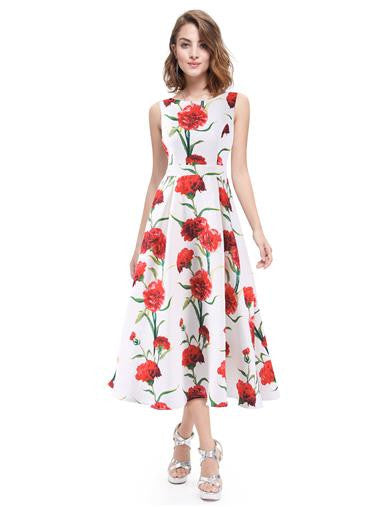Beautiful white floral round neck short tea dress
