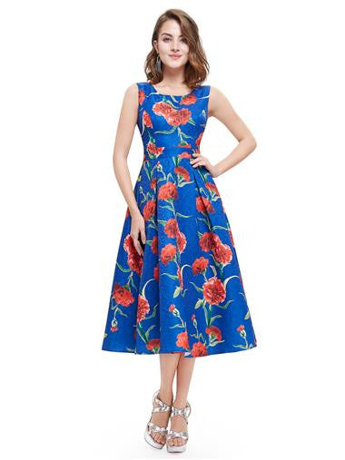 Beautiful blue floral round neck short tea dress