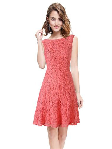 Elegant Coral Lace Tea Dress