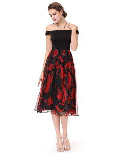 Beautiful off the shoulder black and red tea dress