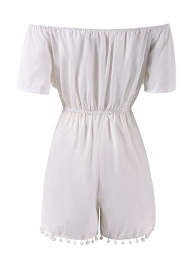 'Tropical Tiki' Off-the-Shoulder Short Sleeve White Romper