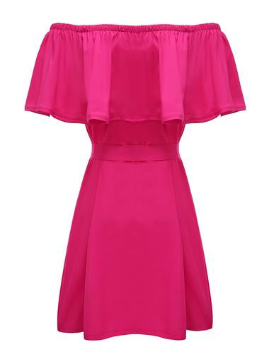 HOT PINK off the shoulder summer dress