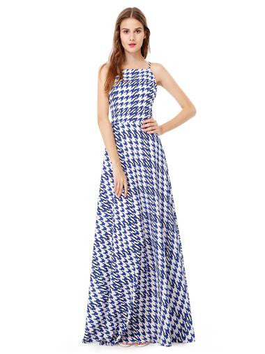 Beautiful Stripey Long White and Blue Maxi Dress