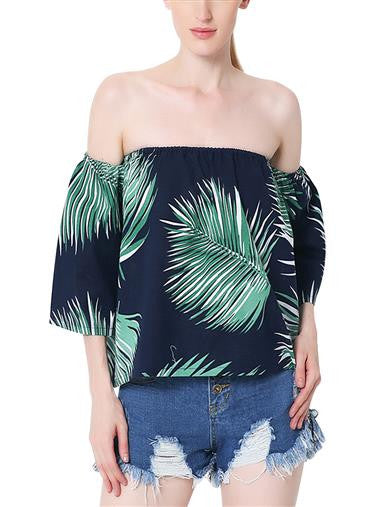 """Tropical Tiki"" Off-the-shoulder 3/4 Sleeve Printed Tops"
