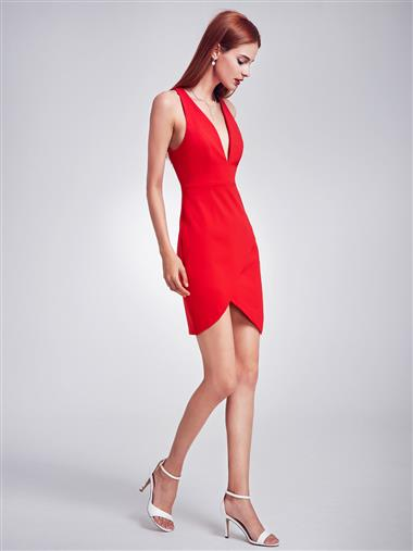 Red Tiki C/tail dress with a deep v-neck