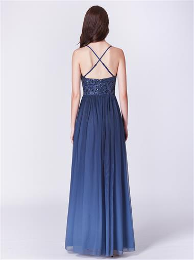 Navy blue evening formal dress
