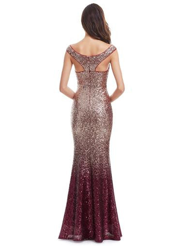 'Sparkle and Shine' red wine evening dress
